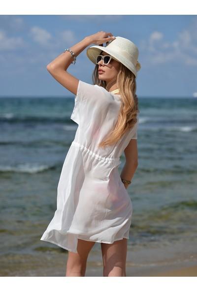 Pembe Deniz Kısa Klasik Beyaz Yelek Pareo