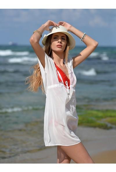 Pembe Deniz Klasik Kısa Beyaz Pareo