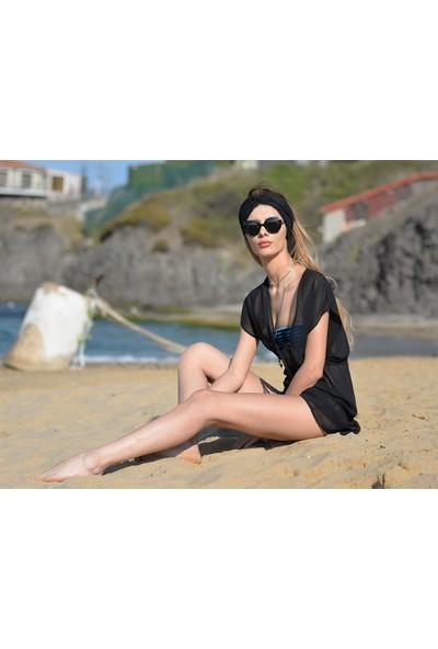 Pembe Deniz Klasik Kısa Siyah Pareo