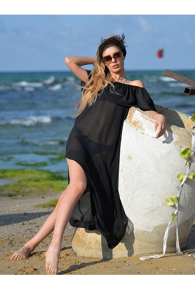Pembe Deniz Omuzdan Lastikli Uzun Siyah Pareo