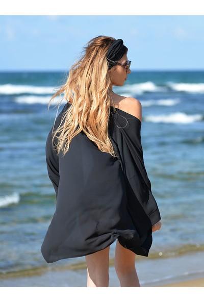 Pembe Deniz Siyah Kısa Şifon Kaftan