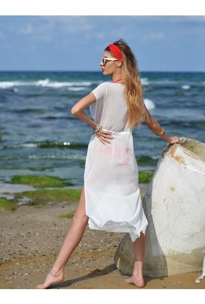 Pembe Deniz Uzun Klasik Beyaz Pareo