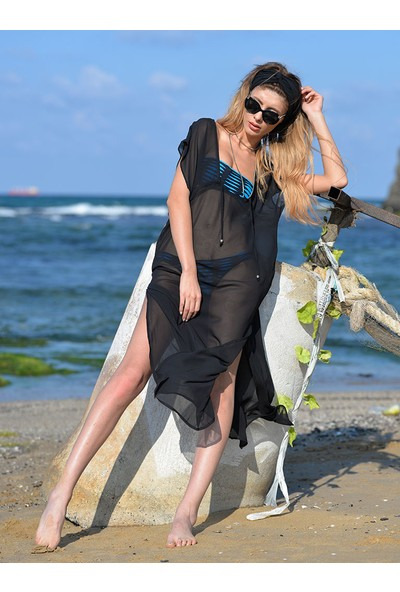 Pembe Deniz Uzun Klasik Siyah Pareo