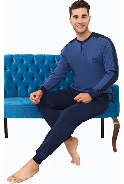 Çelebi 9827 Erkek Kışlık Düğmeli Pijama Takımı