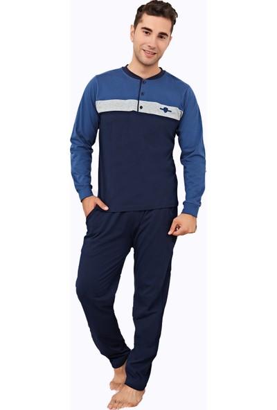 Çelebi 9848 Erkek Kışlık Ön Üç Düğme Pijama Takımı