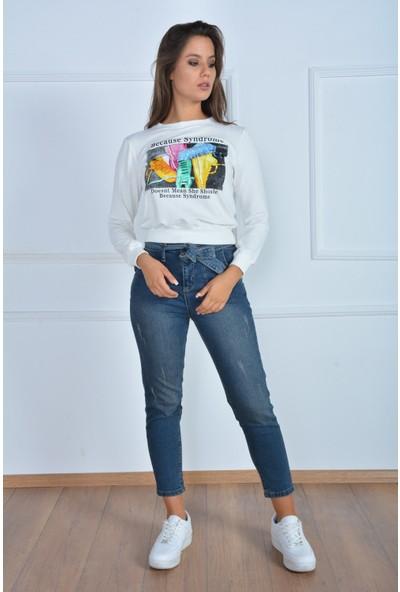 Rodin Hills Kadın Yan Cep Kemerli Mom Jeans 785