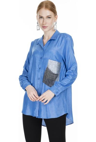 Lela Küçük Taş Detaylı Kadın Gömlek 50276