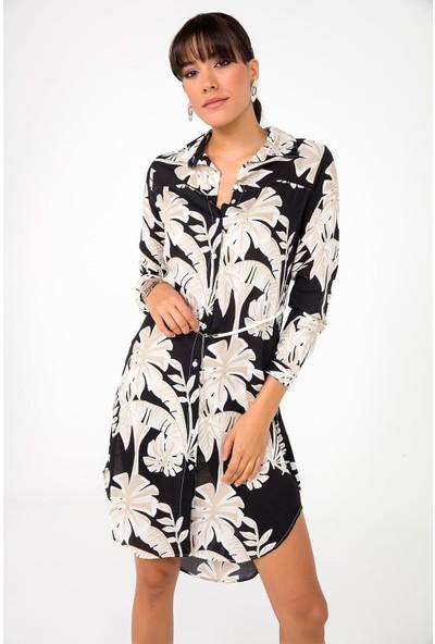 Liplipo Kadın Travakor Kollu Yaprak Desenli Viskon Gömlek Elbise