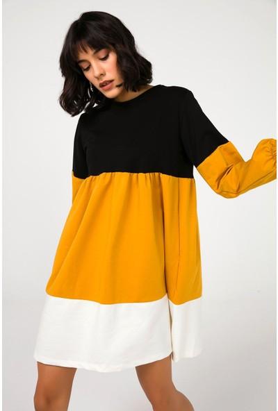 Liplipo Kadın Renkli Büzgülü Likra Elbise