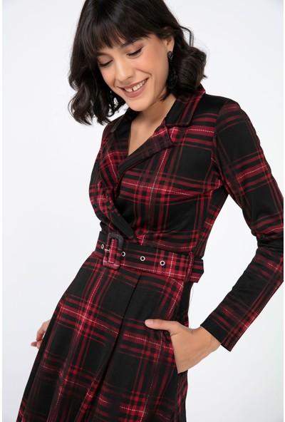 Liplipo Kadın Kruvaze Yaka Ekose Desen Beli Kemerli Likra Krep Elbise