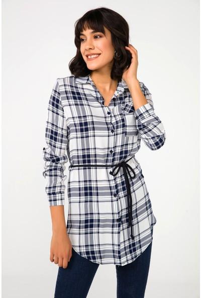 Liplipo Kadın Beli Bağlamalı Ekose Tunik Gömlek
