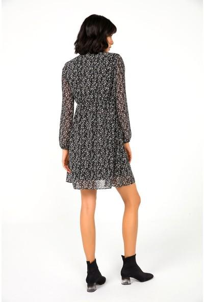 Liplipo Kadın V Yaka Astarlı Desenli Şifon Elbise