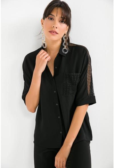 Liplipo Kadın Cep Ve Kol Güpür Detaylı Krep Gömlek
