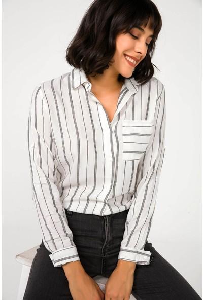 Liplipo Kadın İnce Çizgili Gömlek