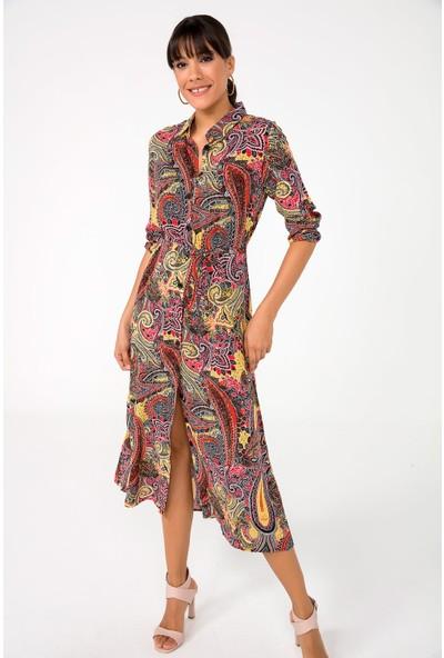 Liplipo Kadın Karışık Desen Kuşaklı Uzun Viskon Gömlek Elbise
