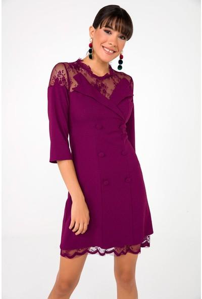 Liplipo Kadın Yakası Eteği Dantelli Astarlı Likra Krep Elbise