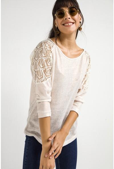 Liplipo Kadın Kolları Dantel Sedefli Likra Bluz