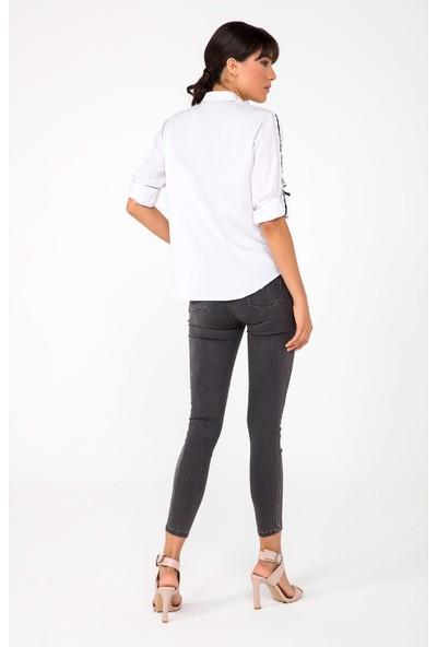 Liplipo Kadın Kolları Şeritli Tek Cep Gömlek