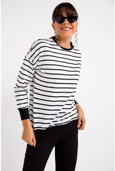 Liplipo Kadın Çizgili Salaş Sweatshirt