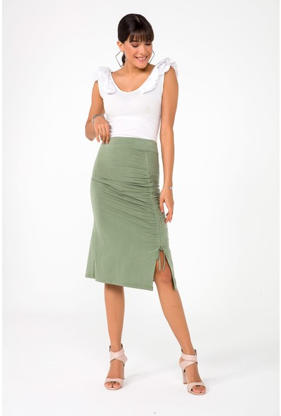 Liplipo Kadın Büzgülü Soft Cotton Likra Yıkama Etek