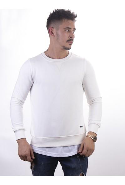 Densmood Beyaz Bisiklet Yaka Düz Sweatshirt
