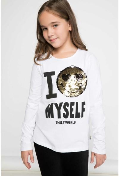 Defacto Kız Çocuk Smiley Figür Baskılı Uzun Kollu Sweatshirt