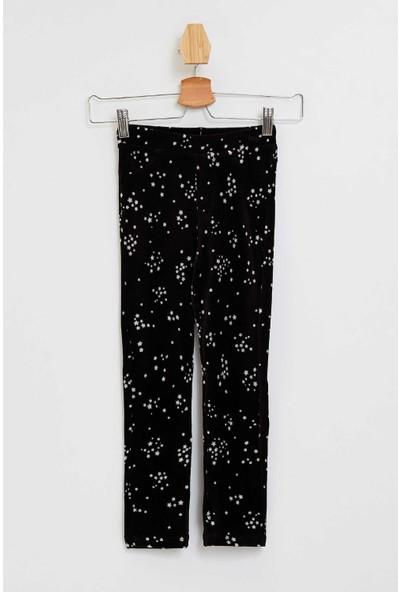 Defacto Kız Çocuk Slim Fit Kadife Yıldız Baskılı Pantolon