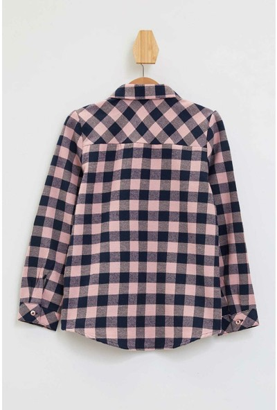 Defacto Kız Çocuk Tek Cepli Kareli Uzun Kollu Gömlek