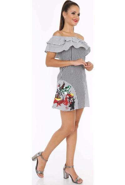 Patiska Madonna Yaka Volanlı Inci Detaylı Eteği Çiçek Baskılı Elbise