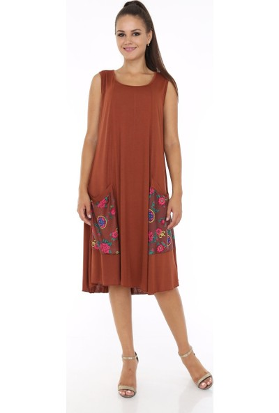 Patiska Cepleri Çiçek Desen Detaylı Salaş Elbise