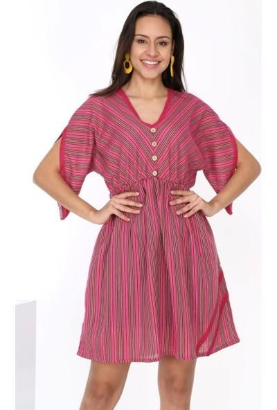 Patiska Çözgü Kumaş Düğme Detaylı Elbise