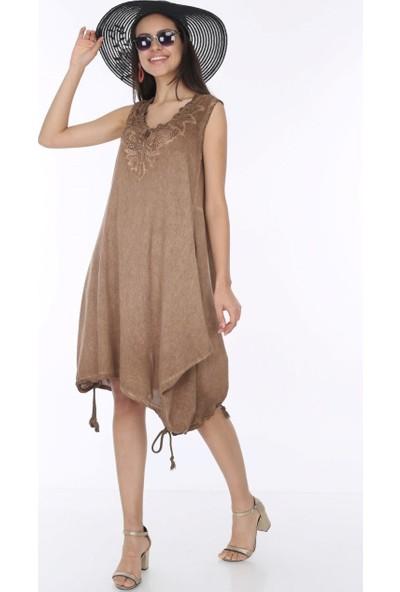 Patiska Etek Uçları Bağlamalı Önü Dantel Detaylı Elbise