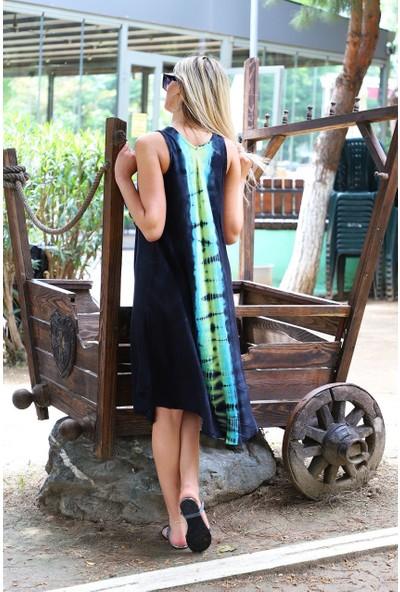 Patiska Uzun Çan Boyuna Desenli Batik Elbise