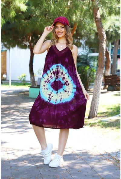 Patiska Yuvarlak Desenli Dantel Detaylı Batik Elbise