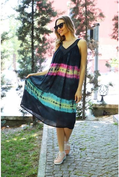 Patiska Enine Desenli Dantel Detaylı Batik Elbise