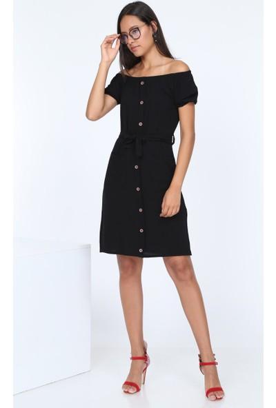 Patiska Önden Düğmeli Cep Detaylı Elbise