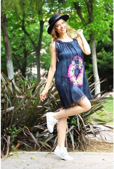 Patiska Yuvarlak Desenli Ip Askılı Batik Elbise