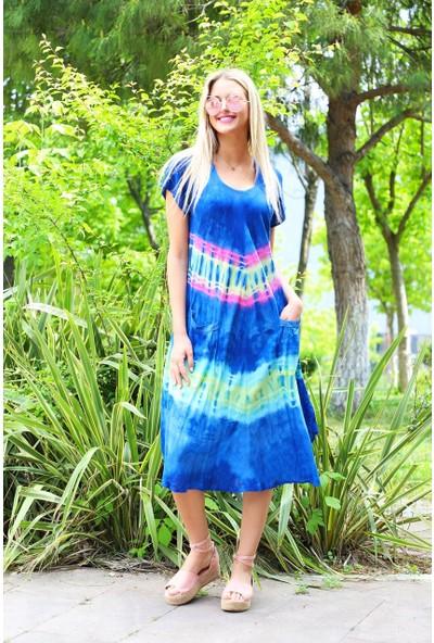 Patiska Yarım Kollu Enine Desenli Batik Elbise