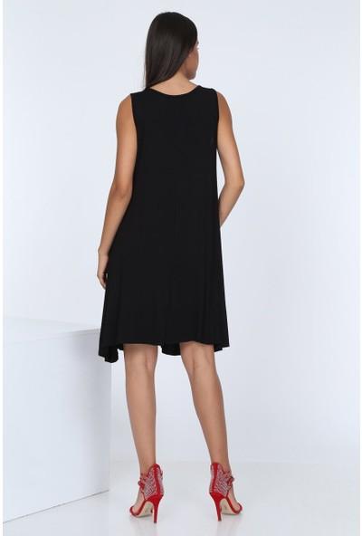 Patiska Salaş Siyah Elbise
