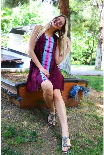 Patiska Kısa Çan Boyuna Desenli Batik Elbise
