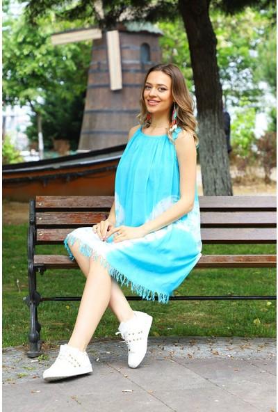 Patiska V Desenli Ip Askılı Batik Elbise