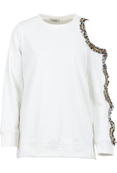 Unique 4017 Kadın Sweatshirt Ekru