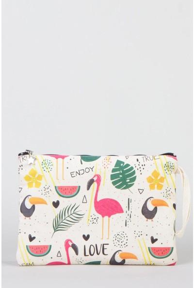 Bammerz Clutch Çanta Kanvas 25x18 cm Flamingo