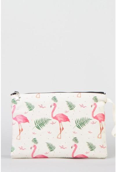 Bammerz Clutch Çanta Kanvas 25x18 cm Flamingo 2