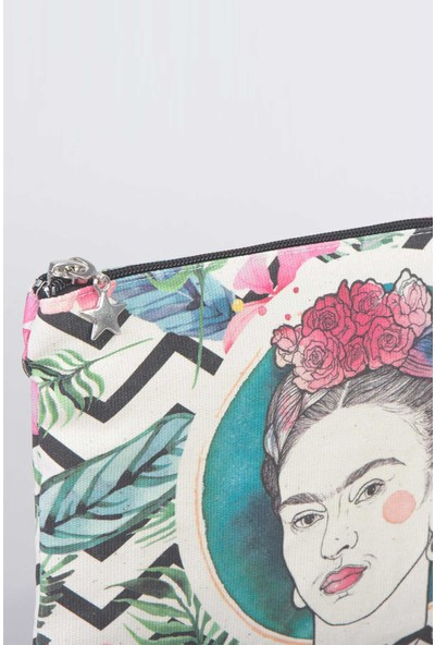Bammerz Clutch Çanta Kanvas 25x18 cm F Kahlo