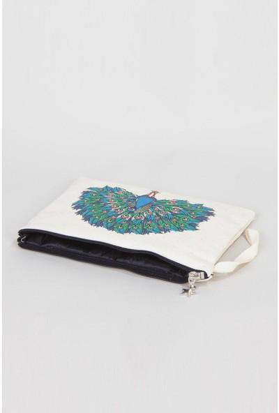 Bammerz Clutch Çanta Kanvas 25x18 cm Kuş