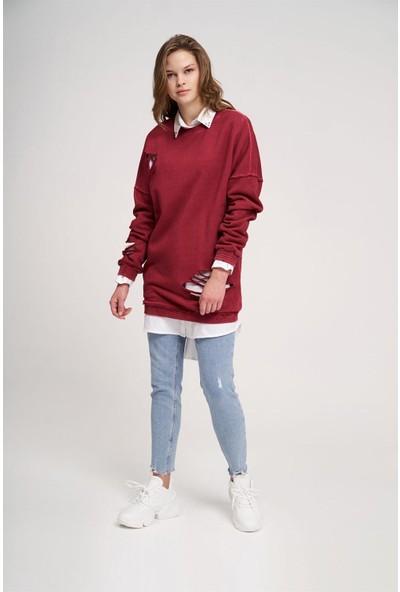 Mizalle Özel Yıkamalı Sweatshirt