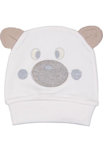 Minitoy Minitoy Ayı Desenli Ekru Şapka
