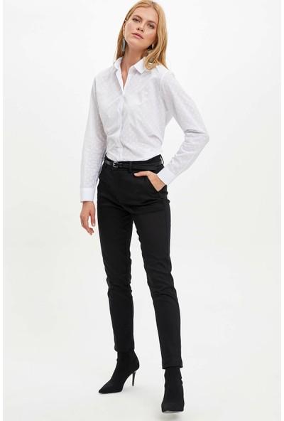 Defacto Kadın Ince Kemerli Slim Fit Dokuma Pantolon
