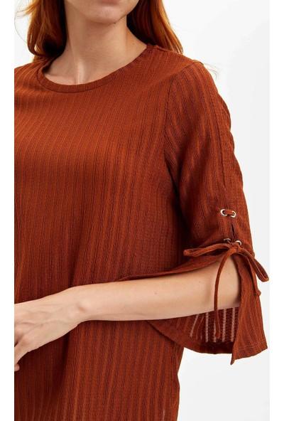Defacto Kadın Kolu Yırtmaçlı Uzun Kollu T-Shirt